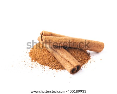 Pile of cinnamon powder isolated