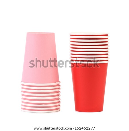 Pile of colorful paper coffee cup.