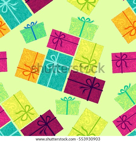 Pile of colorful presents on green background. Seamless elegant pattern for holidays. Background for celebrations and events. Wrapping paper, sale banner design for printing