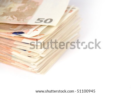 Pile of fifty euro notes isolated on white