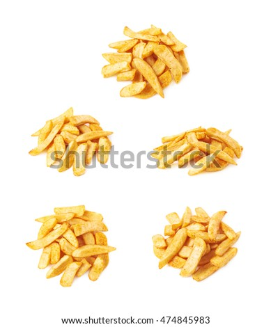 Pile of french fried potato chip slices isolated over the white background, set of five different foreshortenings