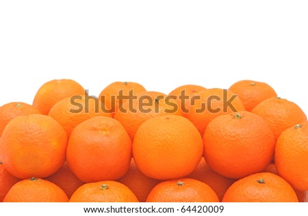 Pile of fresh tangerines, isolated on a white background