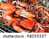Pile of freshly steamed Maryland Blue Crabs - stock photo