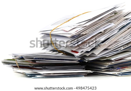 Pile of junk mails, isolated on white background