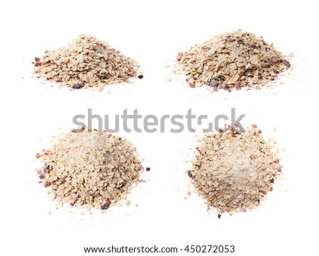 Pile of oatmeal groats porridge mixed with dried fruit pieces, composition isolated over the white background, set of four different foreshortenings