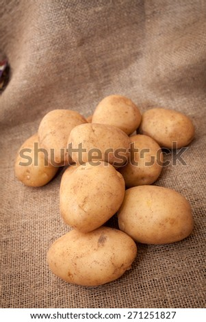 Pile of potatoes on burlap