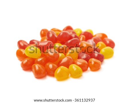 Pile of red jelly beans isolated