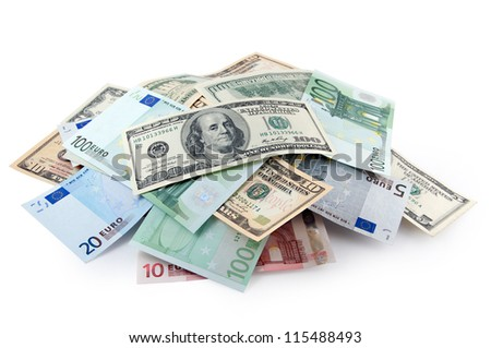 Pile of soft money: dollars and euros