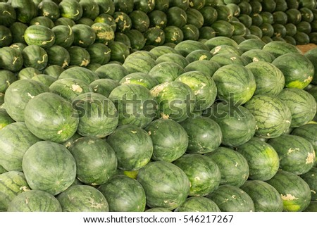 Pile of sweet green watermelon