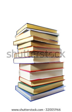 Pile of the multi-coloured books, different thickness photographed on the isolated white background