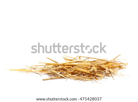 pile straw isolated on white background