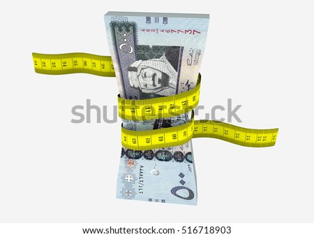 piles of 3D Rendered Saudi money with yellow measure tape isolated on white background