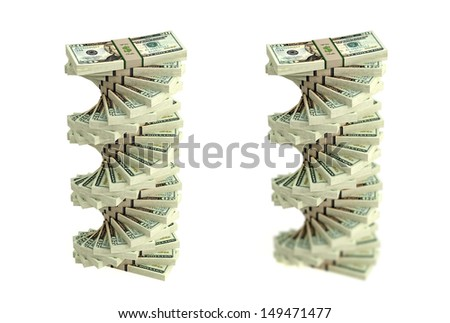Piles of 20 Dollar Bills isolated on white background - with and without DOF effect