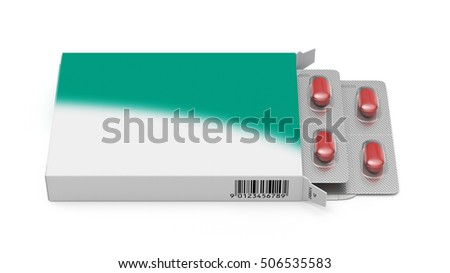 Pill box with text space 3d rendering