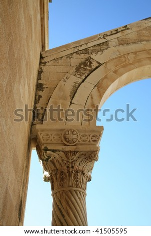 Pillar on Basilica of the Transfiguration, Mount Tabor, Galilee, Israel