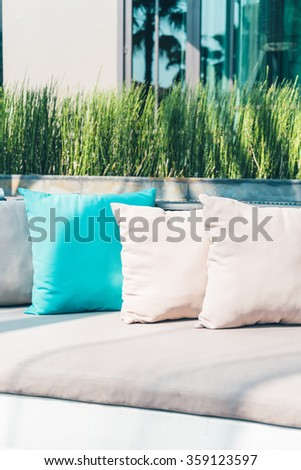 Pillow on sofa decoration interior - Vintage filter