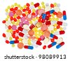 Pills, tablets and drugs, medical background isolated - stock photo