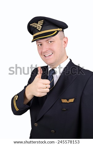 pilot with thumb up on white background