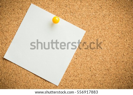 pin white paper on cork board texture or background for note, input text