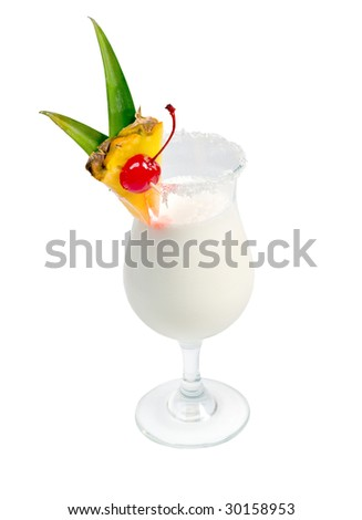 Pina Colada cocktail  isolated on white background,clipping Path