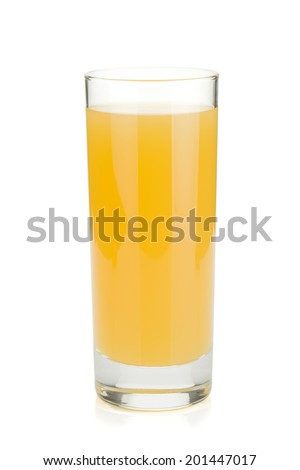 Pineapple juice in a glass. Isolated on white background