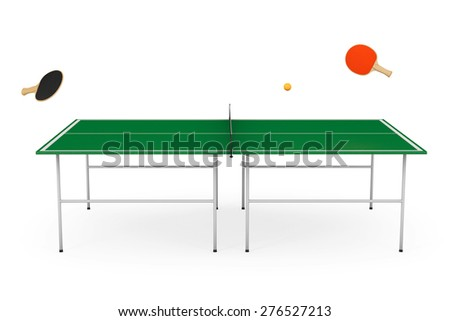 pingpong tennis table with paddles on a white background