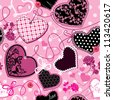 Pink and black Hearts on a pink background - seamless pattern. Raster version - stock vector