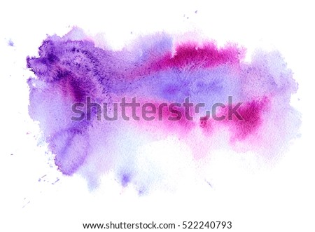 Pink and violet watery illustration.Abstract watercolor hand drawn image.Purple splash.White background.