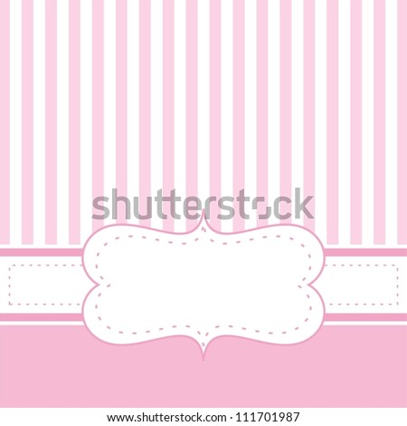 Pink Card Invitation For Baby Shower Wedding Or Birthday Party With White Stripes Cute