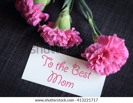 Pink carnation flowers with greeting card. Mother's Day is observed the second Sunday in May.