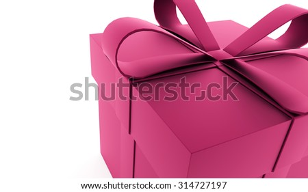 Pink christmas present with ribbon rendered