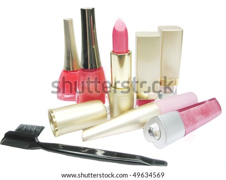pink lipstick creme eye-shadow nail polishers and lash brush lip gloss