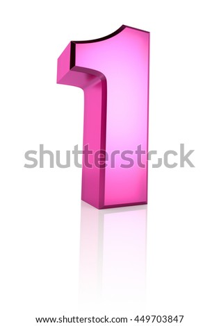 Pink number 1 isolated on white background. 3d rendering