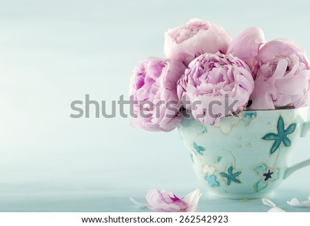 Pink peony flowers in a decorative cup on light blue vintage background with hazy vintage editing