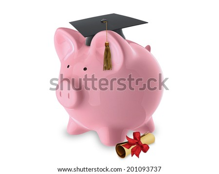Pink pig bank with graduation hat and diploma