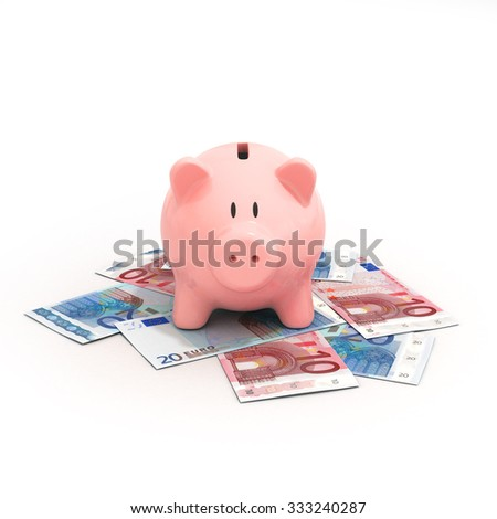 Pink piggy bank on euro bills