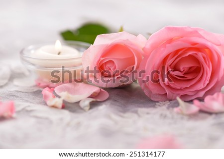 Pink rose petals and rose with candle on lace