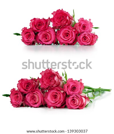 Pink roses bouquet, isolated on white.