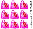 Pink Shopping Bag With Red Sale Tag and 10 - 70 Percent Discount Isolated on White Background - stock photo