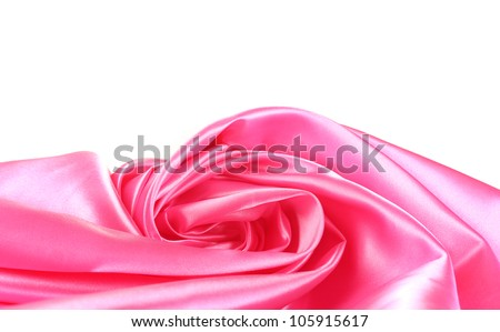 pink silk drape isolated on white