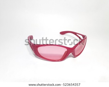 Pink sunglass on white background
