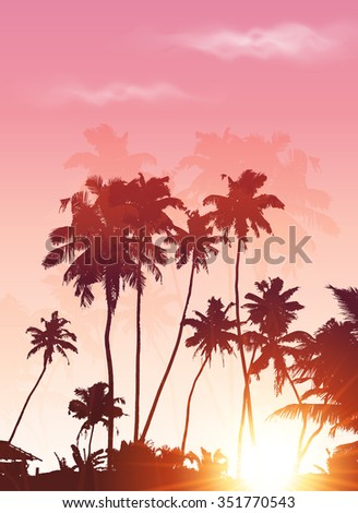 Pink sunset palms silhouettes poster background