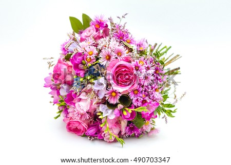 Pink wedding bouquet isolated on white