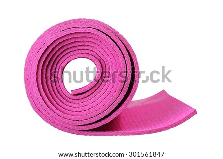 Pink Yoga Mat Isolated on white background