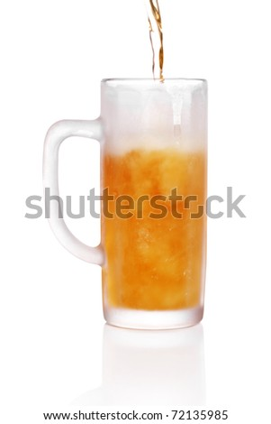 pint of beer served in a frosted stein glass.