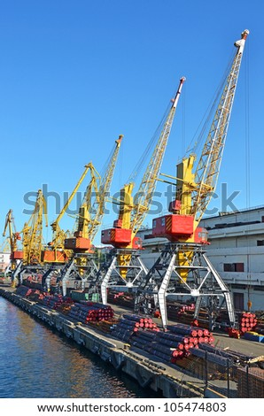 Pipe stack, ready for shipping under cargo crane