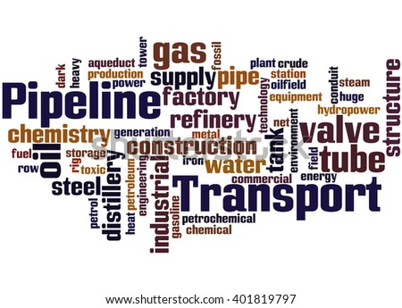 Pipeline Transport, word cloud concept on white background.