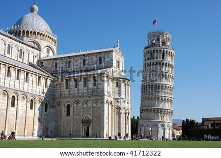 Pisa leaning tower and Baptistery, Italy