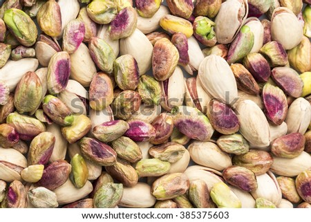 Pistachios dry fruits on white background