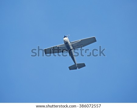 Piston aircraft on the air